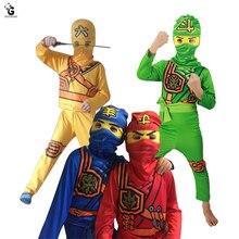 Ninjago костюмы вечерние Дети Мальчики Хэллоуин костюм для детей Рождественский праздничный костюм Ниндзя Одежда супергерой косплей костюмы ниндзя