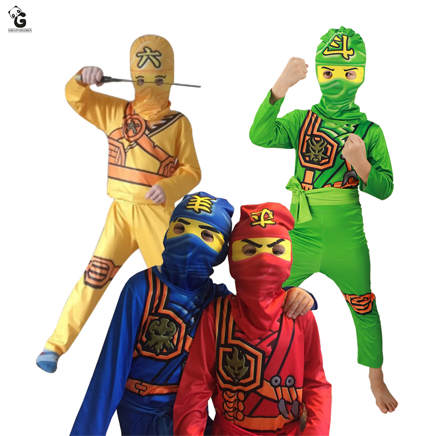Kids Ninjago Costumes Ninja Cosplay Boys Anime Clothes For Children   Halloween Christmas Party Purim Suit Superhero Costume