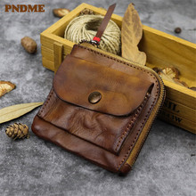 PNDME vintage soft genuine leather coin purse simple high quality top layer cowhide handmade mini zipper money and cards bags