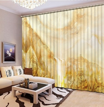 yellow beige curtains Customized size Luxury Blackout 3D Window Curtains For Living Room
