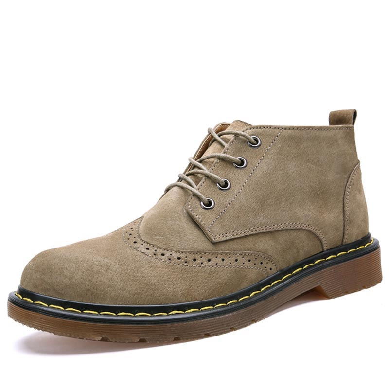 2018 Suede Leather Boots Men British Casual Mens Boots Dr Martins Work Safety Shoes Luxu ...