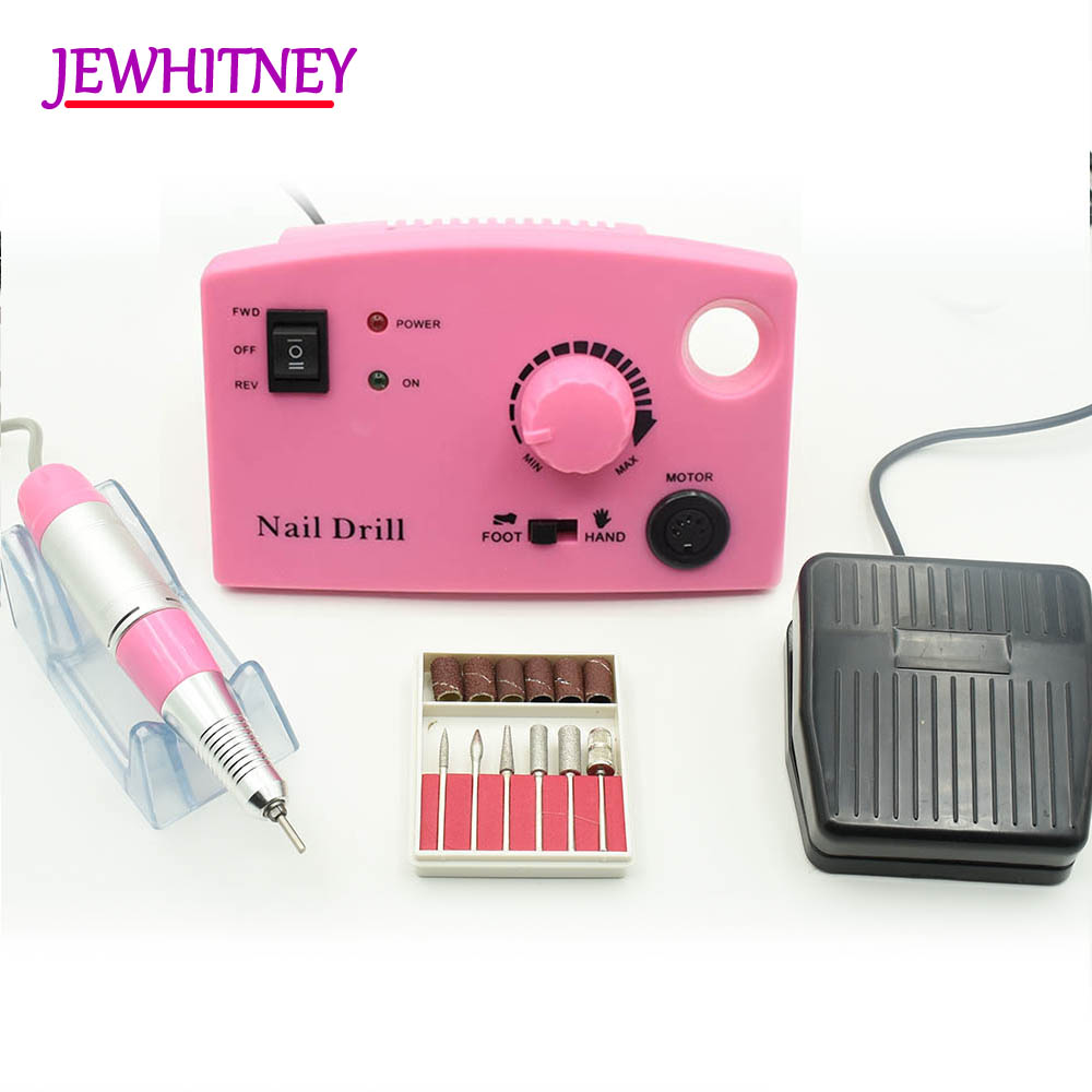 35000RPM Pro Electric Nail Drill Machine Electric Manicure Machine Drills Accessory Pedicure Kit Nail Drill File Bit Nail Tools 2017 new 65w 35000rpm electric nail drill machine file kit bits manicure pedicure kits nail drill machine with lcd display
