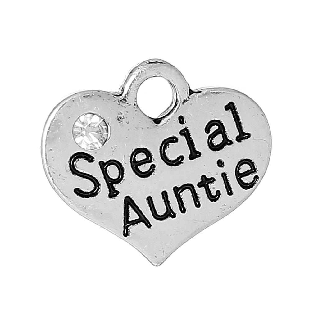 Charm Pendants Heart Antique Silver Message PatternSpecial AuntieCarved Clear Rhinestone 16mm x 14mm,20 PCs