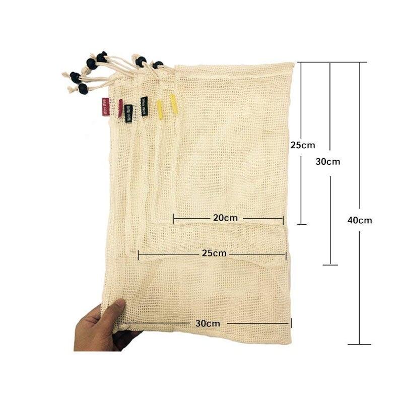 Bolsas de Malla 3 tamaños y de ALGODÓN ecológica sostenible re-utilizable reutilizable de varios tamaños y color beige 1