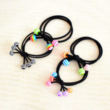 Three in one color bead hair ring, girl hair ornament does not hurt hair, high elastic band(China)