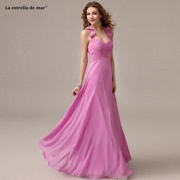 Robe de demoiselle d'honneur pour mariage2019 new chiffon sexy V neck hanging neck backless A Line pink bridesmaid dress Floor