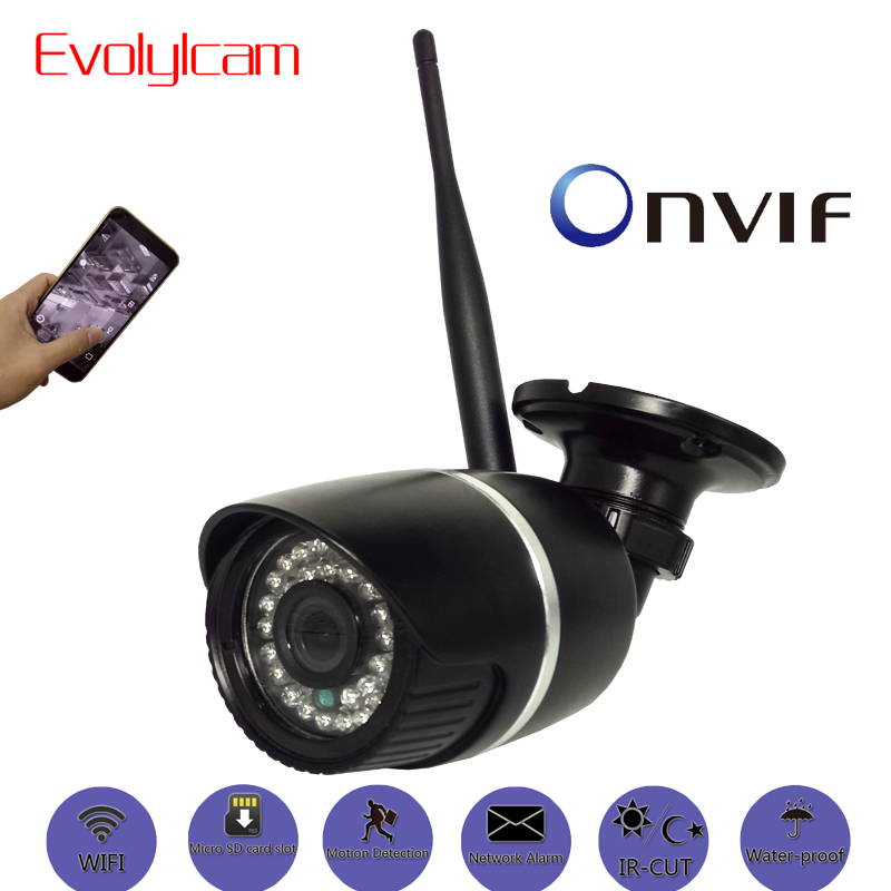Evolylcam Wireless 1080P 2MP Full-HD Micro SD/TF card slot IP Camera Wifi Onvif P2P CCTV Security Network Alarm IR Bullet CamEvolylcam Wireless 1080P 2MP Full-HD Micro SD/TF card slot IP Camera Wifi Onvif P2P CCTV Security Network Alarm IR Bullet Cam