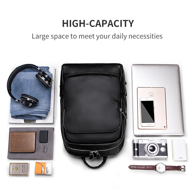 LIELANG Men's Backpack Simple High Quality Leather Backpack Male Leather Fashion Trend Youth Leisure Travel Computer Bag 3