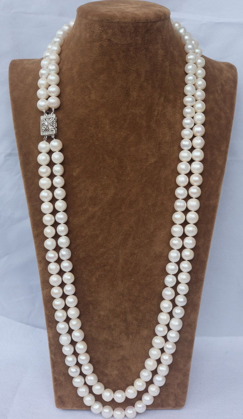 FREE Shipping 24 INCH DOUBLE STRANDS NEW SOUTH SEA AAA 9-10MM WHITE PEARL NECKLACE цена и фото