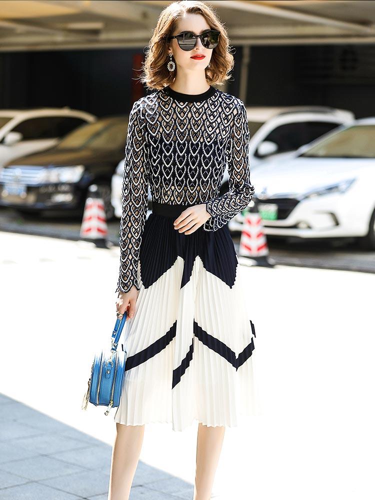 Top qualité marque Designer femmes haute rue luxueux Maxi longues robes plissées évider dentelle broderie robe de mode