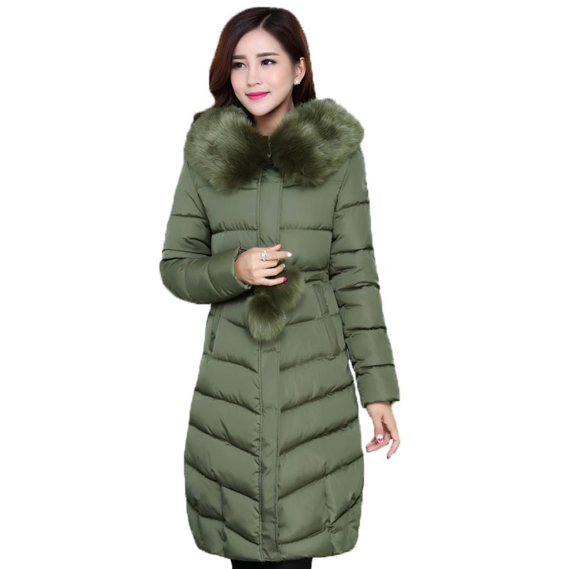 2016 Women Winter Jackets and Coats Fur Collar Hooded Parkas Long Slim Cotton Padded Thick Jacket Plus Size XL-5XL PW0772 winter jacket women 2017 big fur collar hooded cotton coats long thick parkas womens winter warm jackets plus size coats qh0578
