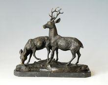 ATLIE BRONZES Christmas Gifts bronze deers  sculpture Longevity mascot  statues metal art home decor