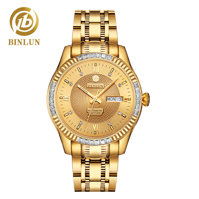 цены BINLUN 18k Gold Luxury Men's Automatic Watch Top Brand Skeleton Mechanical Men Watches Tourbillon Module Diamond Men Wrist Watch