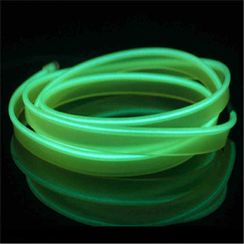 2M Red flexible Auto Car Interior LED EL Wire Rope Tube Line neon light glow salon flat strip Pathway Lighting 12V image