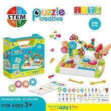 Стебель обучающие игрушки для детей электрическая дрель винт группа гайка разборка матч головоломка игрушки DIY 3D головоломка кирпичная коробка с инструментами, наборы