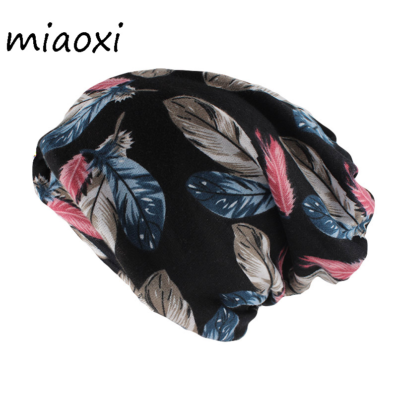 Miaoxi Women Hat Scarf Double Used Fashion Adult Girl'S Beanies Skullies Floral Leaf Autumn Warm Hats Caps For Lady Gorros