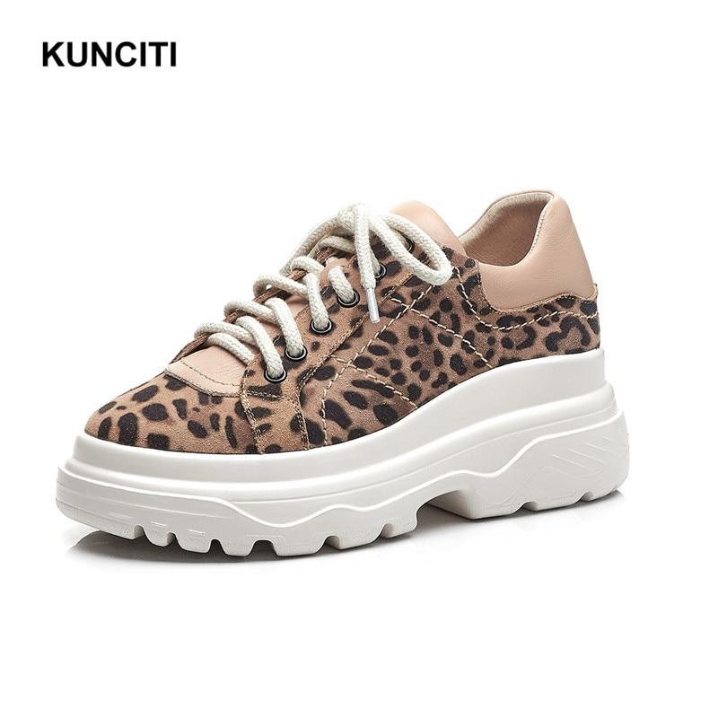 Encaje Zapatillas 2019 leopard Plataforma Vintage Primavera Cuero Zapatos Otoño Mujeres Black F961 Cómodo Casual De Gamuza Leopardo ftAdrqxA