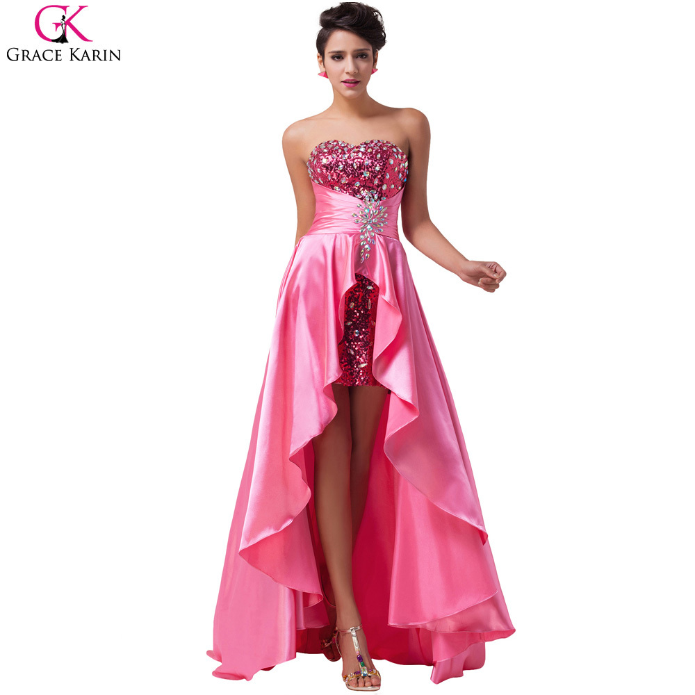 High Low Prom Dresses Robe De Soiree Grace Karin Strapless Bead Sequin Front  Short Back Long Formal Gowns Wedding Party Dress-in Prom Dresses from  Weddings ... 2d075e5730ce