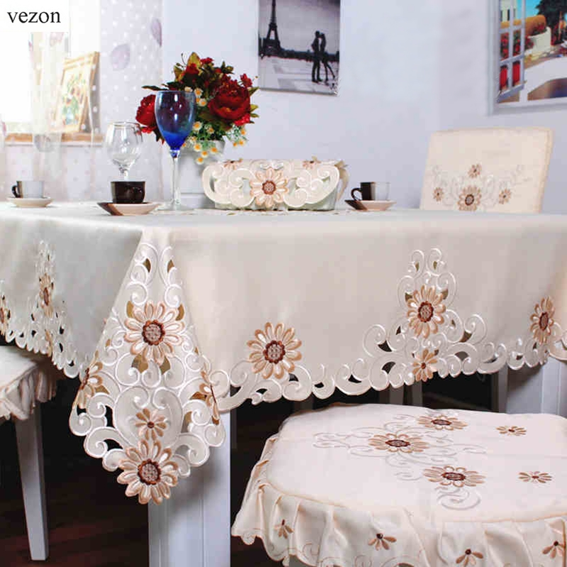 Vezon New Hot Europe Elegant Polyester Satin Embroidery Daisy Tablecloth  Embroidered Floral Table Cloth Cover Overlays