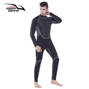 Image 4 - 本 3 ミリメートルネオプレンウェットスーツワンピース開閉ボディ男性スキューバダイビングサーフィンためシュノーケリングスピアフィッシングプラスサイズ