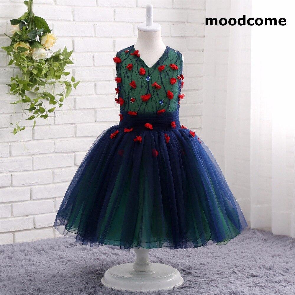 2018 New Cheap Flower Girl Dresses Tea Length Tulle Flowers Custom