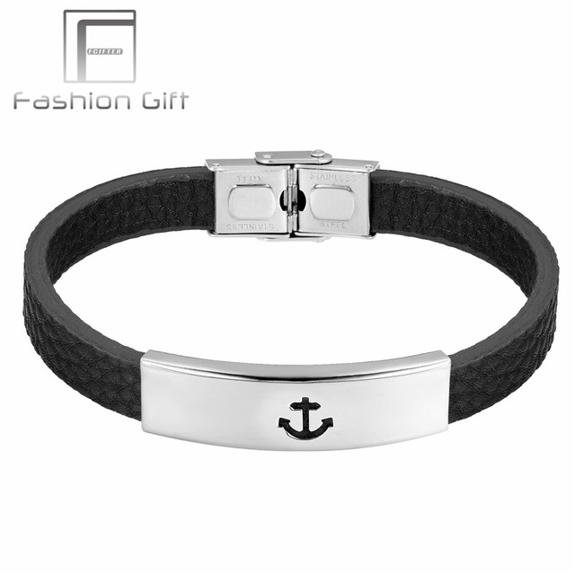Fgifter Men Casual Bracelet Double Safety Stainless Steel Clasp Leather Bracelets Man Bangles Hot Ing Jewelry