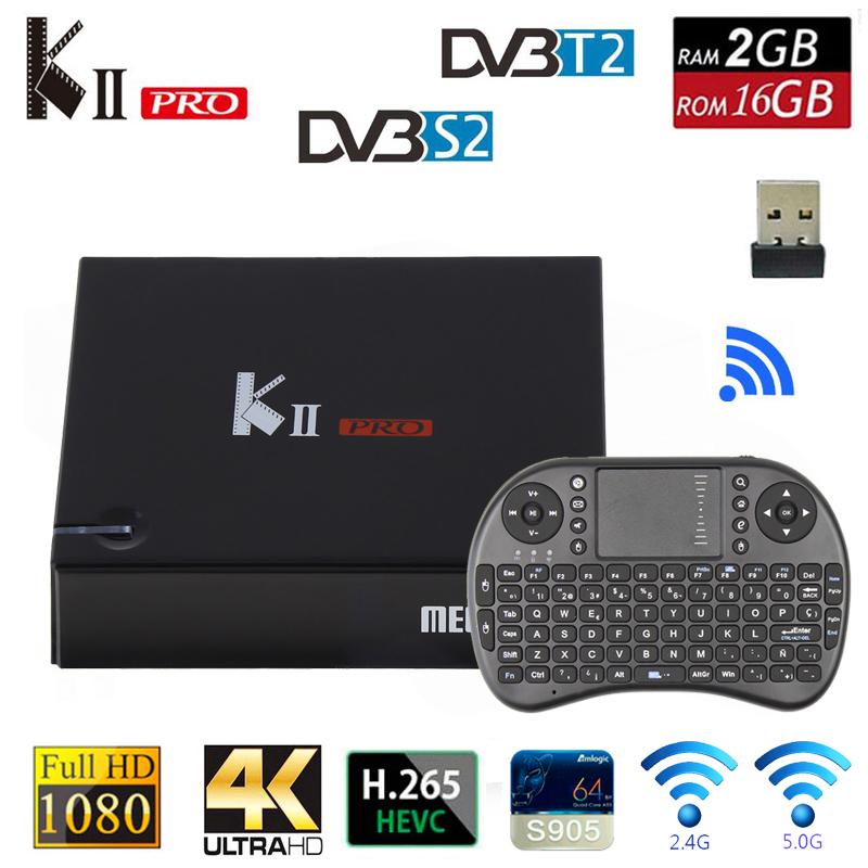 Prix pour DVB T2 Android TV Boîte K2 PRO 2 GB 16 GB DVB-T2 DVB-S2 Android 5.1 Amlogic S905 Double WIFI HEVC KII pro 4 K Smart TV Box + i8 Clavier