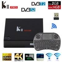 DVB T2 Caixa de TV Android K2 PRO 2 GB 16 GB DVB-T2 DVB-S2 Android 5.1 S905 Amlogic Dual WIFI HEVC KII pro 4 K Smart TV Box + Teclado i8