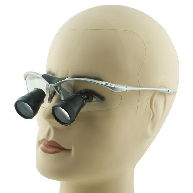 2.8x Magnification Customized Dental TTL(Through The Lens) Loupes with Silver BP Sports Frame