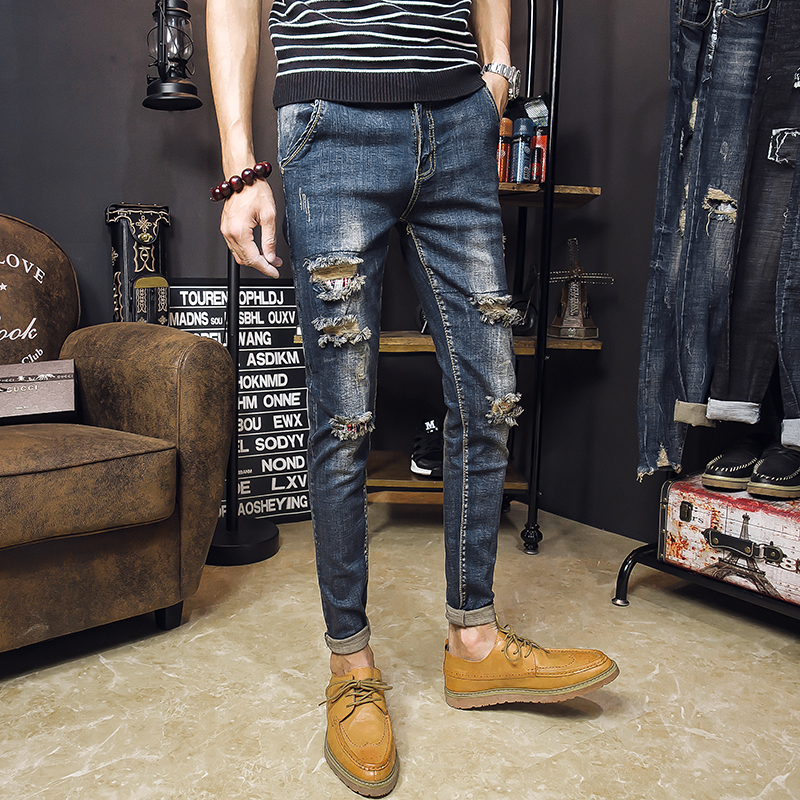 2018 new autumn and winter boys hole patch jeans slim slender feet Slim pencil pants youth tide men beggar pants
