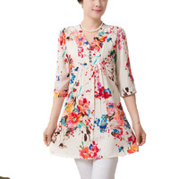 New Women Summer Casual Blouses Women Tops Print Shirt Dresses Blusas De Renda Feminino Kimono