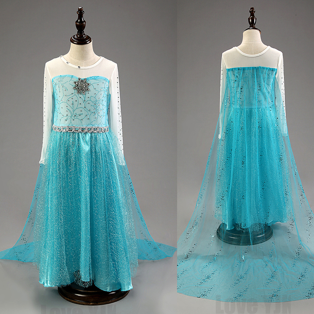 2016 горячей высокое качество Elsa девушки принцесса детей платья ну вечеринку фантазия Vestidos младенцы платье летом анна дети пользовательские платья