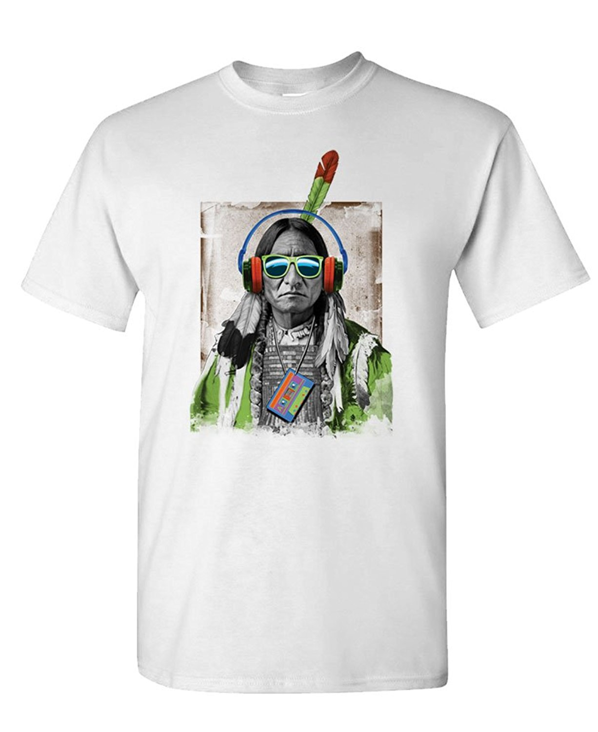 Printed T Shirts Men'S Short Sleeve Native Headphones American Indian Hippy Short Crew Neck T Shirts