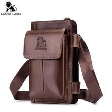 LAOSHIZI LUOSEN Casual Fanny Pack Men Genuine Leather Unisex Small Mens Belt Bags Solid Travel Waist Cow Women