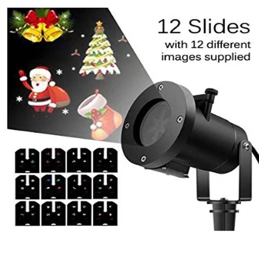 12 Направляющие Сменные светодиодный проектор light Рождество огни Открытый лазерный проектор света Новый год Сад праздник стороной огни