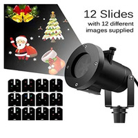 12 Slides Replaceable LED Projector Light Christmas Lights Outdoor Laser Projector Light New Year Garden Holiday