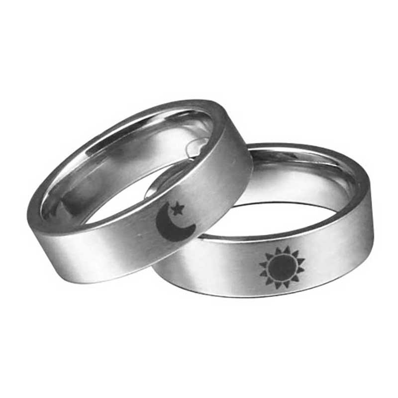 Sun And Moon Simple Ring Couples Rings Set For Him And Her Promise Rings For Stainless Steel Gift Lovers Rings