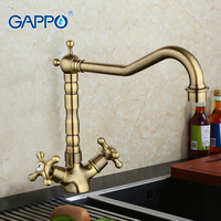 Retro Style Brass Solid Kitchen Faucet Bronze Plating Double Handle Cold And Hot Water Mixer G4063