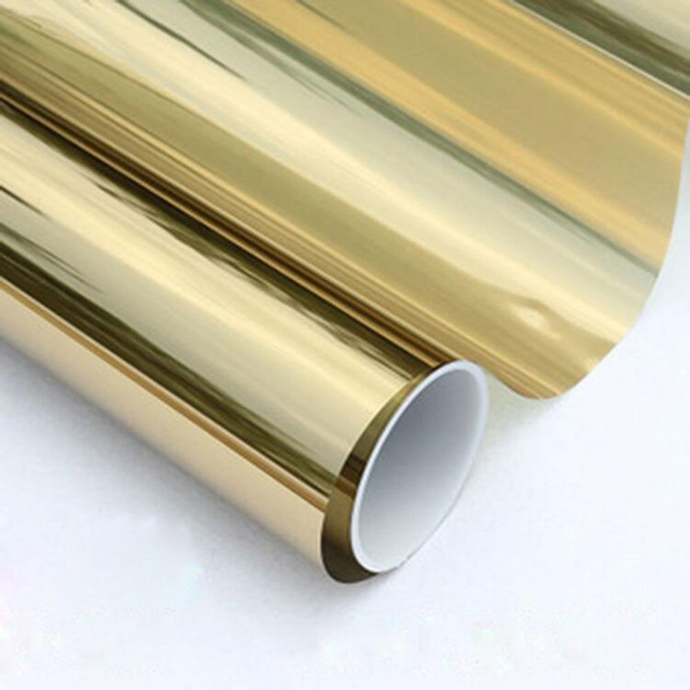Glass Self Adhesive Film DIY Reflective Mirror Window UV Sun Protection Foil Silver Gold Decorative Film