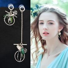 1Pair Fashion Women Stylish Gold/Silver Color Geometric Streamlined Tassel Asymmetry Earrings Women Girl Jewelry Pendante