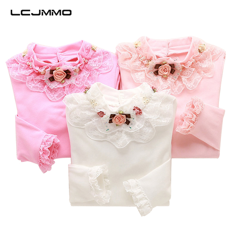 LCJMMO 2017 New Spring Girl   Blouses     Shirts   Lace Long Sleeve School Girl   Blouse   Tops Children Clothing Bead Collar   Blouse     Shirt