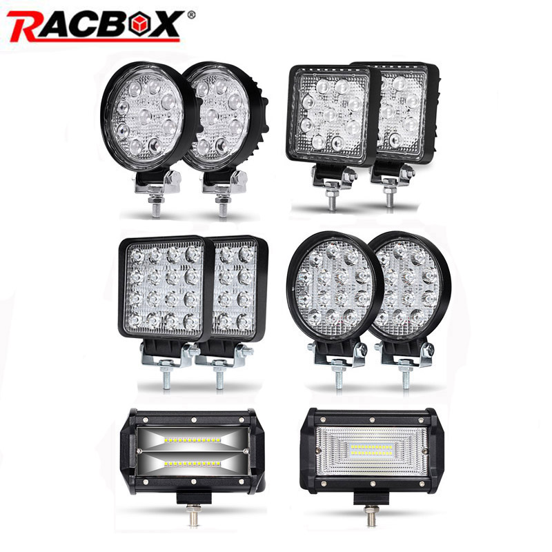 27W 42W 48W 72W Offroad Led Work Light Car 4WD Truck Tractor Boat Trailer 4x4 SUV ATV 12V 24V Spot Flood 4'' 5'' LED Light Bar