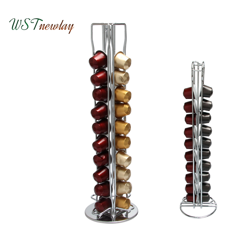 20 /40 Cups Nespresso Coffee Pod Holder Rack Iron Tower Stand Shelves Kitchen Coffee Capsule Display Storage Shelf Organizer