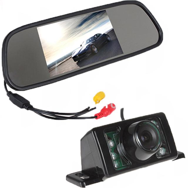 Sistema De Assistência de Estacionamento automático 2 em 1 Digital 5 TFT LCD Espelho carro TV Estacionamento Monitor + 170 Graus Mini Câmera de visão Traseira Do Carro