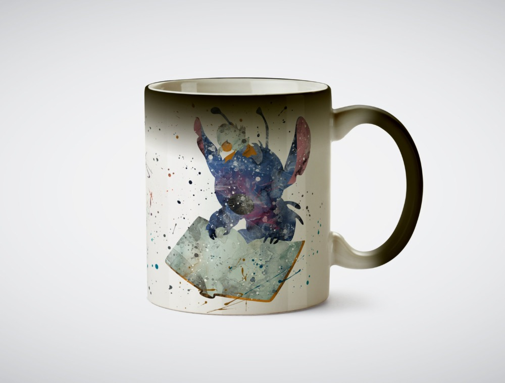 Stitch and the ugly duck mugs heat reveal mug heat sensitive ceramic mug magic tea cups coffee mugen transforming magic cups
