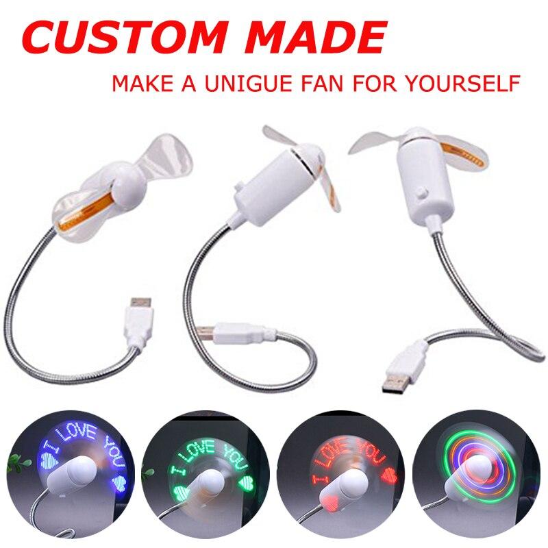 New Durable Adjustable USB Gadget Mini Flexible Summer Cooler LED Light USB DIY Programmable LED Message Picture Fan IY803806
