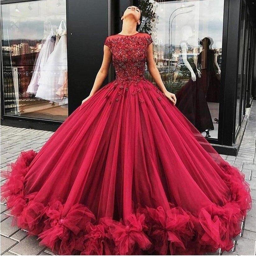 Abiye Borgogna Rosso Puffy Abiti da ballo Abiti di Sfera Appliques In Rilievo 3D Del Fiore di Tulle Convenzionale Lungo Del Partito del Vestito Robe De Soiree