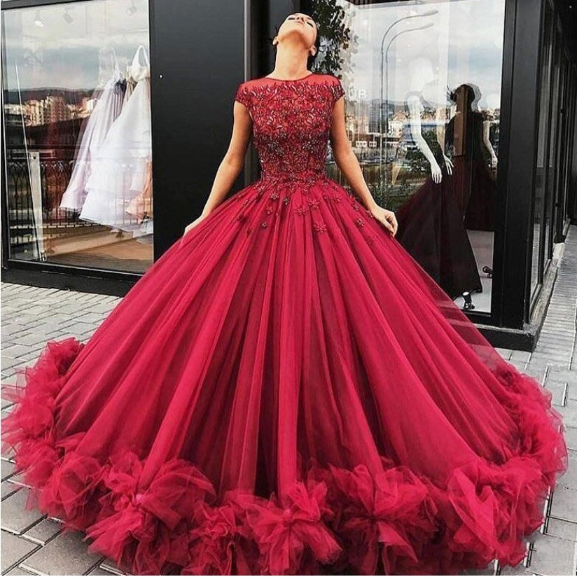 Abiye Burgundy Red Puffy   Prom     Dresses   Ball Gowns Appliques Beaded 3D Flower Tulle Long Formal Party   Dress   Robe De Soiree