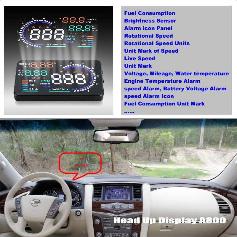 For Nissan Patrol Safari Y61 Y62 Safe Driving Screen Car HUD Head Up Display Projector Refkecting Windshield in Head up Display from Automobiles Motorcycles