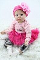22 дюймов 55 см Силиконовые Детские куклы reborn, реалистичные куклы reborn игрушки для девочки розовое платье принцессы подарок brinquedos для детей